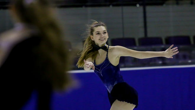 Members of the Greater Pensacola Figure Skating Club perform during their end of season showcase at the Pensacola Bay Center on Thursday, April 5, 2018.