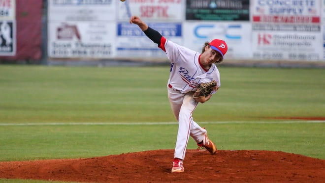 Pace High pitcher Brandon Sproat helped lift the Patriots into the Class 7A regional semifinals on Tuesday night with a win over Navarre.