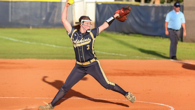 Gulf Breeze's Elle Branton (3) pitches against Mosley in the Region 1-6A quarterfinal game at Gulf Breeze High School on Wednesday, May 2, 2018.  Gulf Breeze won 4-2 and will move on to the Region 1 semifinal game for the second straight year.