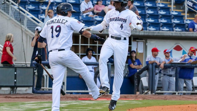 After hitting a homerun against the Tennessee Smokies, Pensacola's Shed Long (4) is congratulated by teammate Luis Gonzalez (19) at Blue Wahoos Stadium on Thursday, May 24, 2018.