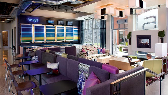 A shot of the lounge at one of Aloft's boutique hotels.