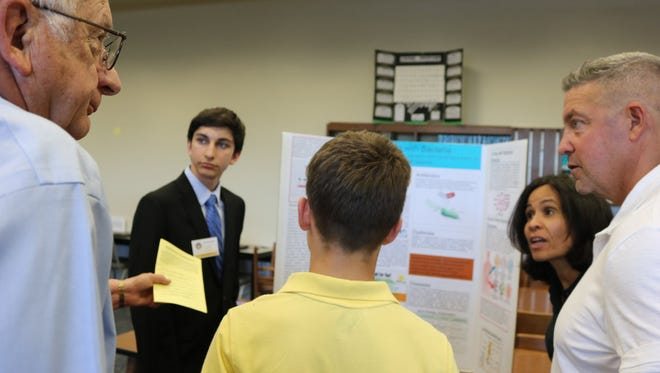 Joseph Sapone '20 of Bridgewater answers questions at the Marian Scholar Symposium.