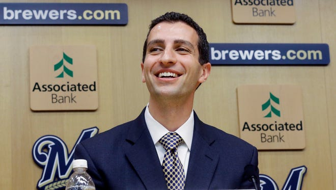 David Stearns speaks during a news conference in Milwaukee last season.