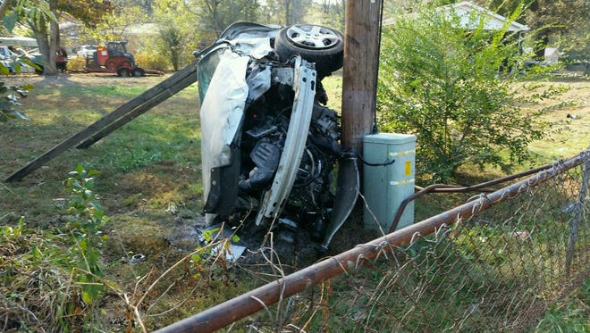 A 9-year-old boy was seriously injured after taking a car joyriding and crashing at a high rate of speed into a tree and then telephone pole.