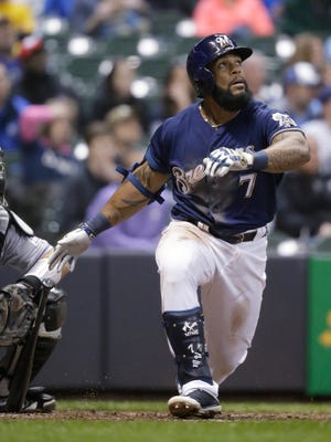 Brewers first baseman Eric Thames watches his fourth-inning home run April 5 against the Rockies.