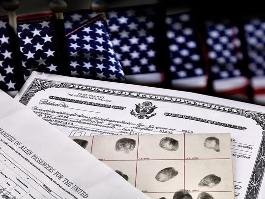 Immigration Documents with US Flags