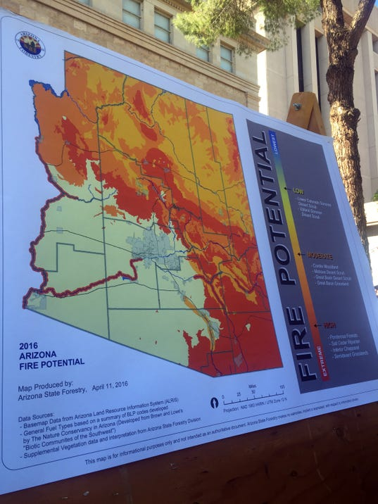 Map of Arizona's 2016 wildfire season potential outside of the State Capitol