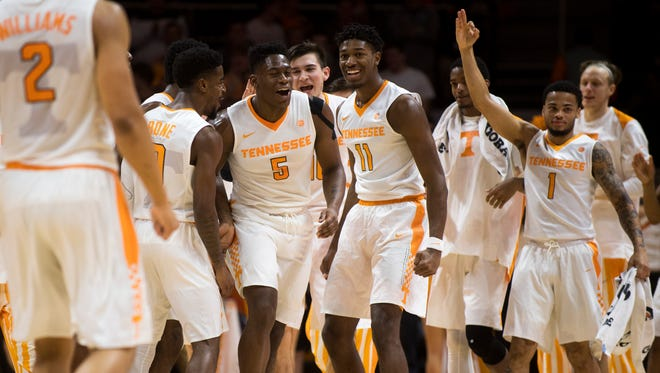 Tennessee celebrates during a timeout during Tennessee's basketball game against Mercer at Thompson-Boling Arena on Wednesday, Nov. 29, 2017.