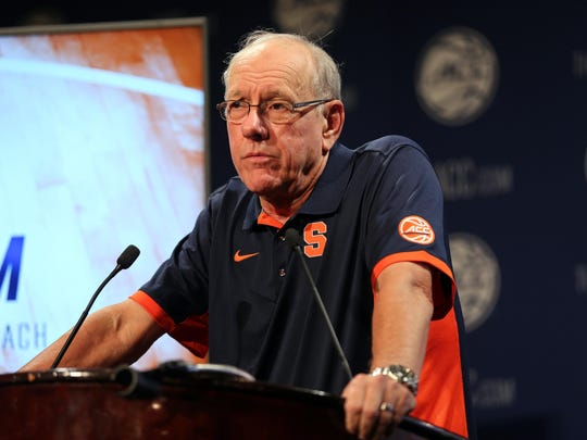 Syracuse Orange coach Jim Boeheim during ACC media