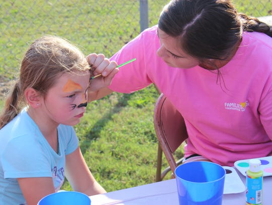 Face painting is one of the activities that is scheduled