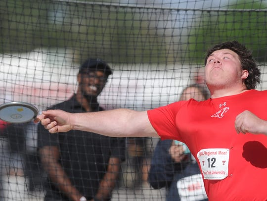 Cooper sophomore McCord Whitaker makes his final toss in the Class 5A discus competition. He finished third in the event at the Region I-5A track and field meet Saturday at Lowrey Field in Lubbock.