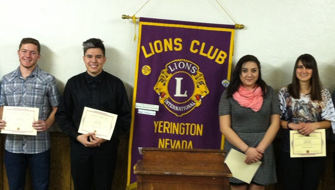 Yerington Lions Club Speak-Up Contest finalists from Yerington High School include, from left, Daniel Sciarani, Josiah Reizenstein, Paco Leyva-Diaz, Sara Gutierrez, winner Amber Spinuzzi and Cortez Berumen.