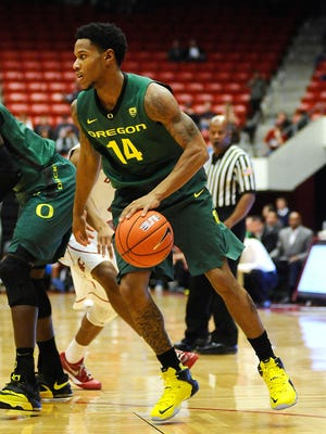 Oregon Ducks guard Ahmaad Rorie (14) drives the lane against the Washington State Cougars during the first half at Wallis Beasley Performing Arts Coliseum on Jan. 15