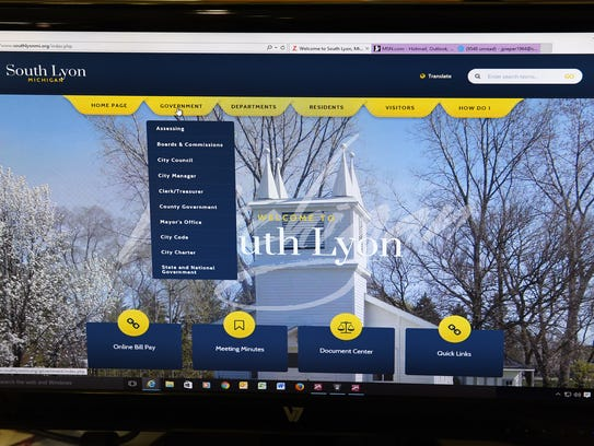 The City of South Lyon's new website page.