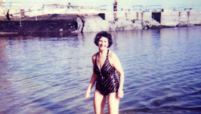 In bathing suit: Rose Leon at her beloved Hudson Park in New Rochelle, 1985. She swam in those waters all year for many years.