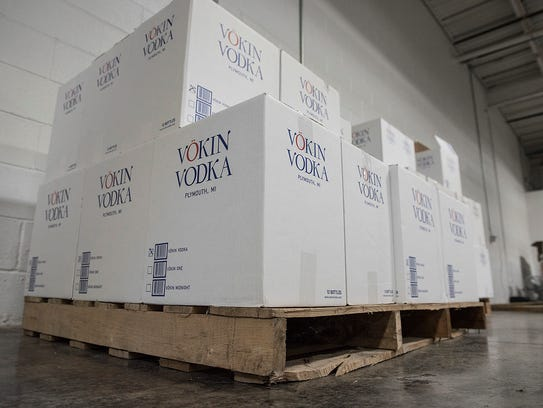 Cases of vodka from Plymouth are ready to ship.