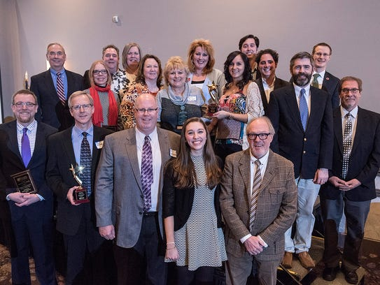 Winners of the 2017 leadership awards got together for a group photo. This year's banquet is set for Thursday, Feb. 15, at Laurel Manor in Livonia.