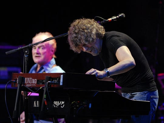 Rod Argent of the Zombies works the keyboards during Hippiefest at Wolf Trap in Vienna, Virginia, in 2007.