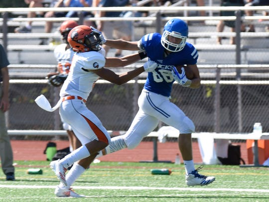Catholic Central's Mike Harding gains extra yardage
