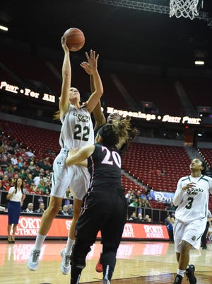 CSU's Elin Gustavsson puts up a shot Tuesday over San Diego State's Geena Gomez during a quarterfinal game of the Mountain West tournament. Gustavsson scored 21 points to lead the Rams to a 53-41 win.