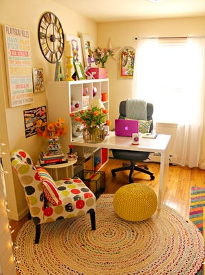 The colorful new home office for Alycia Yerves Creative.