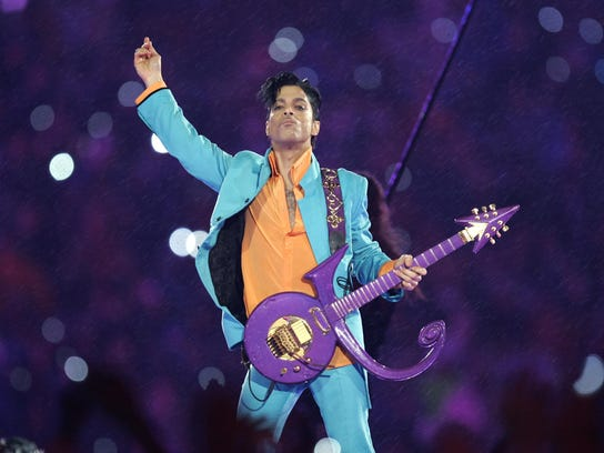 Prince performs during the halftime show on Feb. 4,