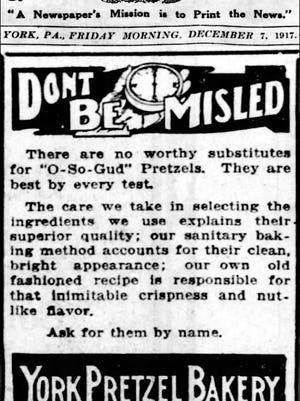 York Pretzel Bakery ad in the York Daily (York, PA) December 7, 1917