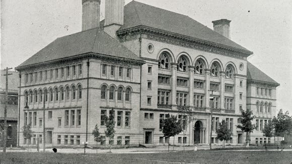 This building, on the site of present-day St. Patrick's school and its parking lot, later became Hannah Penn Junior High School. It was York High at the time of the 1899 anniversary celebration.