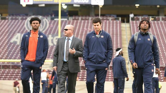 Chip Lindsey with his quarterbackAuburn at Texas A&M on Saturday, Nov. 4, 2017 in College Station, TX.Todd Van Emst/AU Athletics