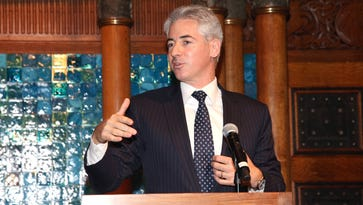 Activist hedge fund manager William Ackman speaks at an awards dinner in New York City.