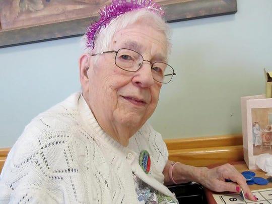 Emeline Dence celebrates her 95th birthday at Elderwood Nursing Home.