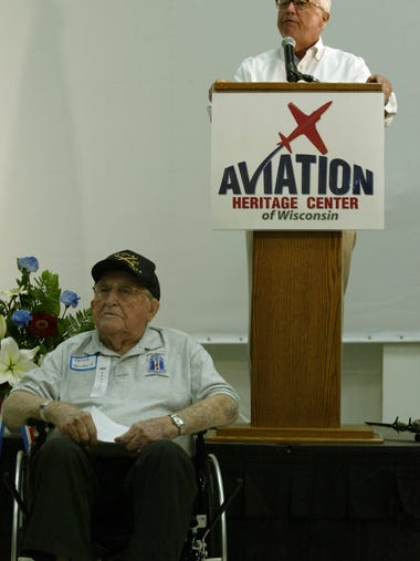 World War II Army veteran Harold Wendorf, 95, left,