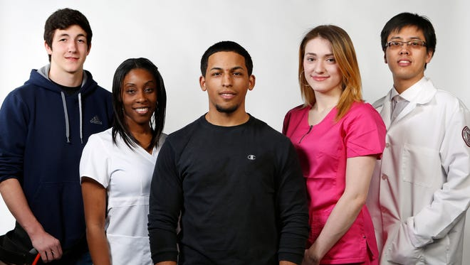 From left: Carpenter in training Henry Oatts, 16, of Congers; registered nurse Tamara Jones, 29, of Nyack; mechanic in training Nicholas Huertas, 17, of Thiells; home health aide Jacqueline Rose, 19, of Stony Point; and medical scientist Yu He, 29, of White Plains.