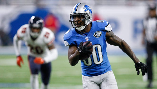 Detroit Lions wide receiver Anquan Boldin (80) runs after a catch during the fourth quarter against the Chicago Bears at Ford Field.