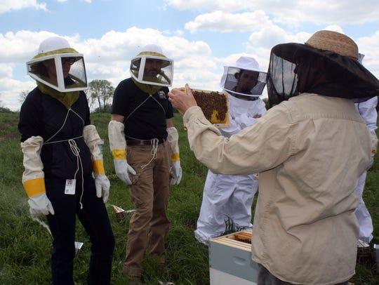 Beekeeper Liz Tilton teaches a beekeeping lesson to