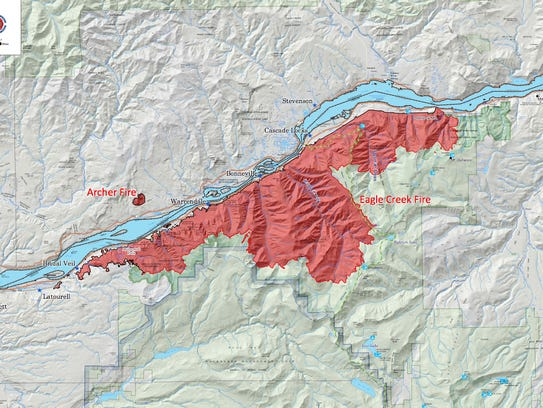 Eagle Creek Fire map, in the Columbia River Gorge.