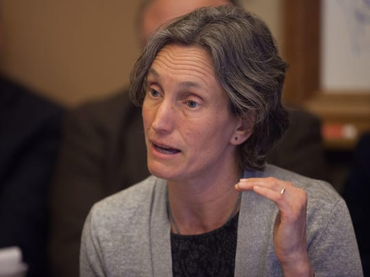 Rebecca Holcombe, at the time Vermont's secretary of education, speaks to the Senate Education Committee on April 21, 2015 in Montpelier.