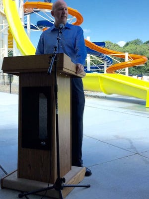 Gov. Jack Markell is shown at the Wednesday  opening of new waterslides at Killens Pond State Park.
