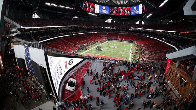 A general view of Mercedes-Benz Stadium before the Southeastern Conference Championship game between Georgia and Alabama on Saturday, Dec. 1, 2018 in Atlanta.