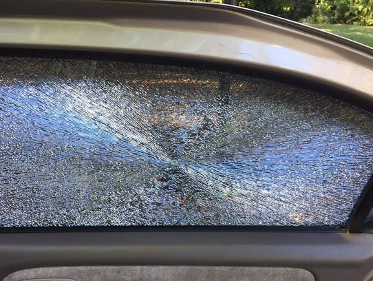 Pictured is a window on one of Lindsey Long's two vehicles,