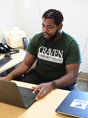 Craven CC advisor Austin Dixon holds a virtual advising appointment with a potential student. Craven CC advisors are working hard to ensure all student questions and concerns are addressed while registering them for the mid-summer semester that starts June 15.