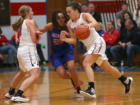 Center Grove's Cassidy Hardin (5) tries to drive around Kayana Traylor. The two will be teammates at Purdue.