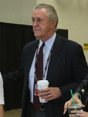 Heat President Pat Riley enters an NBA Finals game on June 8.