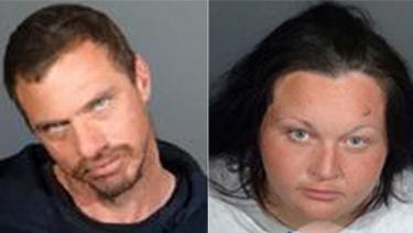 The booking photos provided by the Los Angeles County Sheriff's Department show from left,  Vincente Calogero and Sarah Nilson.