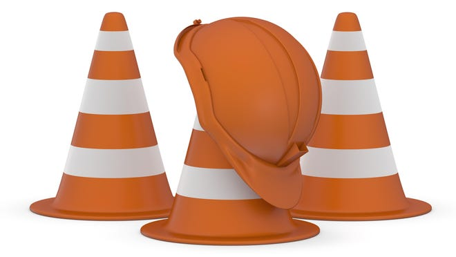 Traffic cones and hardhat 3D. Road sign. Icon isolated