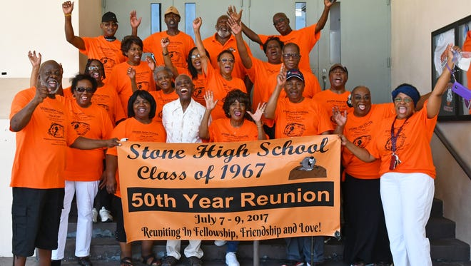 Students from the Stone High School Class of 1967 gather for a 50-year reunion at what is now Stone Middle School. They're the last graduating class of Stone High before schools were integrated in 1968.