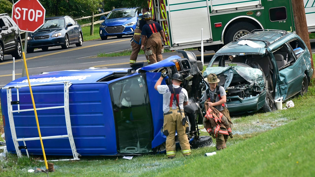 Drivers were flown to trauma centers following a two-vehicle crash at Cider Press and Falling Spring roads on Tuesday morning, September 5, 2017.
