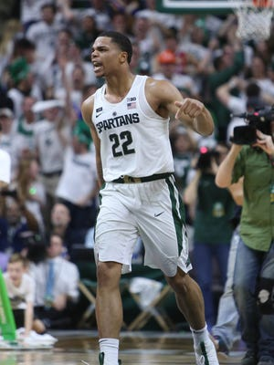 Michigan State's Miles Bridges celebrates after hitting the game-winning shot against Purdue on Saturday, Feb. 10, 2018 at the Breslin Center in East Lansing.