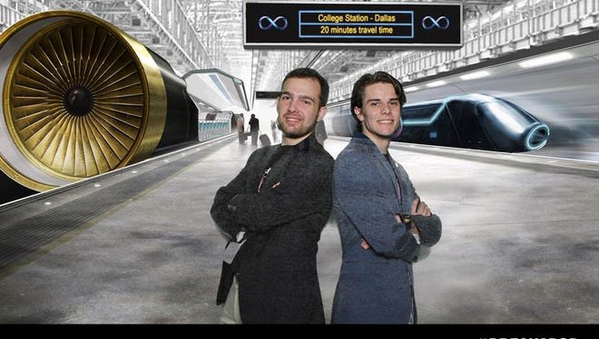 "Correll French, left, poses with his teammate Seamus Cullinane in front of a rendering of the hyperloop. French, a 2013 graduate of Central York High School, led a team that competed in Elon Musk's design competition  for what Musk has called the ""fifth mode of transport."""