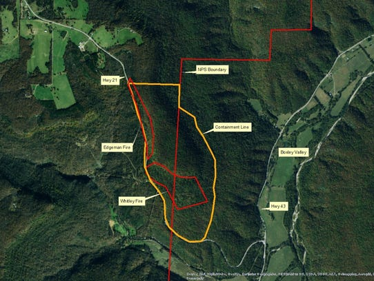 Map shows where two fires are burning in Boxley Valley.